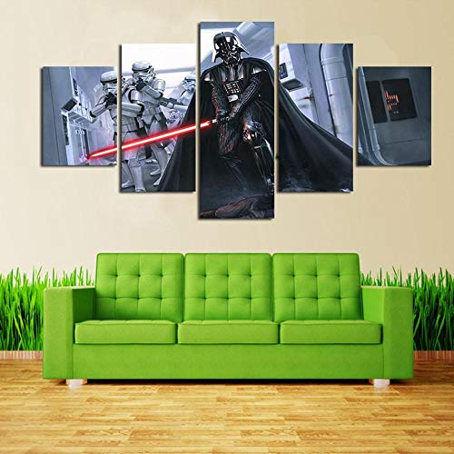 GFYC Póster de Arte de Pared Moderno, Lienzo de decoración del hogar, 5 Paneles, película de Star Wars para Sala de Estar, Impresiones en HD, Pintura, Cuadros modulares