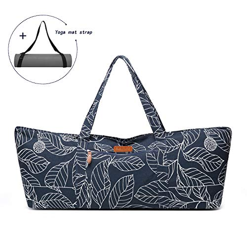 ELENTURE Extra Large Yoga Mat Tote Bag, Yoga Carrier Sling Bag with Multi-Functional Storage Pockets for Sports Gym Pilates (with Yoga Mat Carrying Strap)