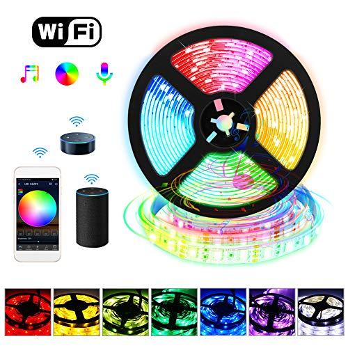 Alexa LED Strip 5M, LED Streifen RGB Smart WiFi 5050 300 LED Band, APP Steuerbar Musik LED Lichterkette für Haus, Küche, TV, Party,kompatibel mit Alexa, Google Assistant (Nicht unterstützt 5G)