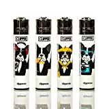 Gas refillable normal flame large lighter set of four French Bulldog