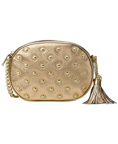 """8-1/2""""W x 6-1/2""""H x 2-1/4""""D Interior features 3 card slots 22-1/2"""" to 24-1/2""""L adjustable strap Exterior features gold-tone hardware, starburst studs and tassel accent Leather; lining: polyester"""