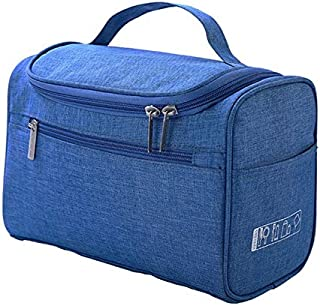 SODIAL Cosmetic Bag Double Zipper Women Cosmetic Case Travel Organizer Portable Beautician Essential Ladies Makeup Bags Package Blue