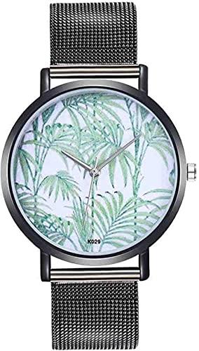 JZDH Mano Reloj Reloj de Reloj de Pulsera Moda de Moda Patrón de Plantas de aleación Correa de Acero analógico Relojes Redondos de Cuarzo -El Reloj de Lujo Delicado Relojes Decorativos Casuales