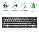 NACODEX K680T 60% Wireless/Wired Mechanical Keyboard - Compact 68 Keys 1000mAh Rechargeable Gaming/Office Keyboard Multi-Device for iOS Android Windows and Mac (Brown Switch White Backlit Black)