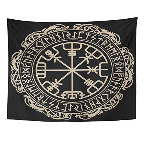 HYDDAXJW Tapicería Mandala Decoración para El Hogar Vikingo Negro Brújula Rúnica Mágica Vegvisir En El Círculo De Los Tapices Nórdicos Nórdicos Dormitorio (W) 150X (H) 150Cm