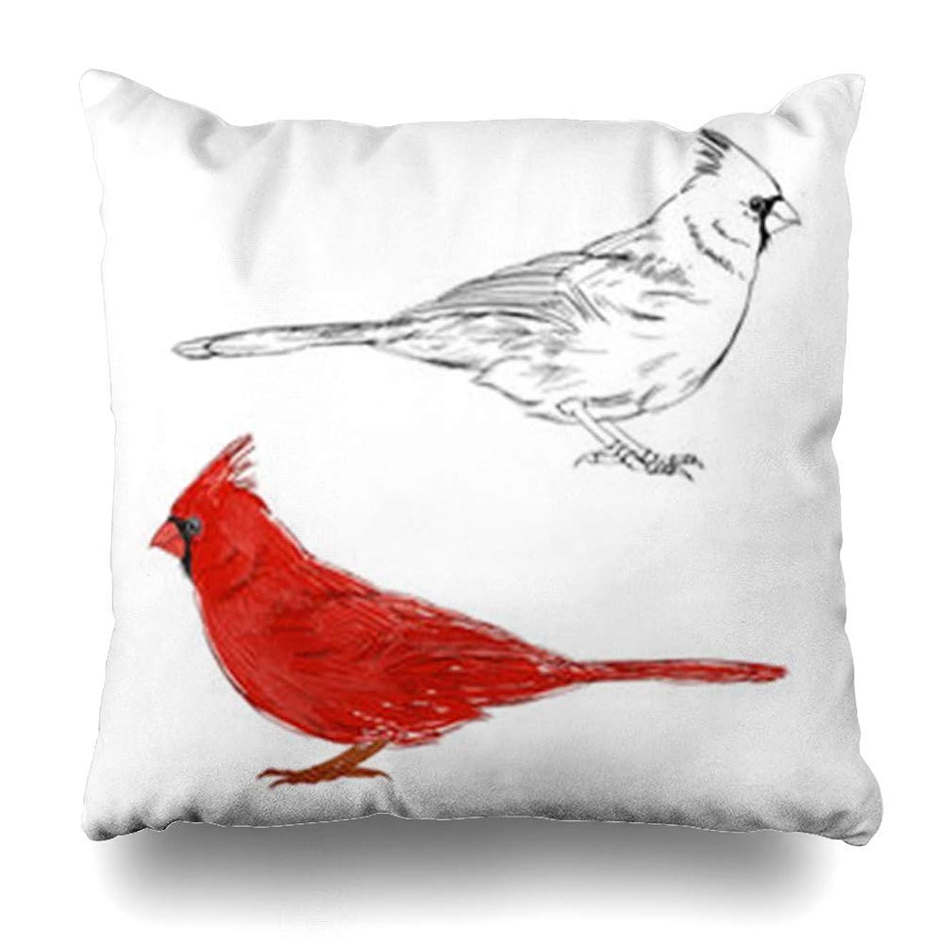 チョーク生産的復活する投げる枕カバー木の枝に座っている赤いくちばし北部の枢機inal野生生物自然鳥カットかわいい屋外家の装飾ソファ枕カバースクエアサイズ18 x 18インチクッションケース