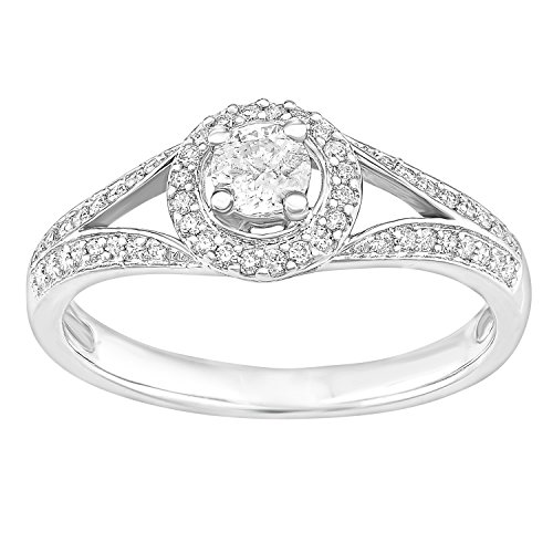 Naava 18ct wit goud ronde halo 0.40ct diamant solitaire verlovingsring