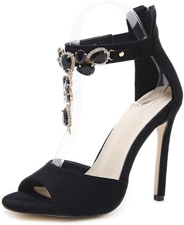 GIY Women's Sexy Stiletto High Heel Ankle Strap Sandals Peep Toe Platform Anti-Slip Zipper Dress Party Pump