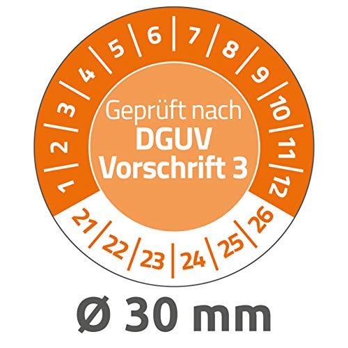 AVERY Zweckform 80 Stück Prüfplaketten 2021-2026 nach DGUV Vorschrift (widerstandsfähig, selbstklebend, Ø 30 mm, Prüfaufkleber, beschriftbare Prüfsiegel aus Vinyl-Klebefolie) 6976-2021 orange