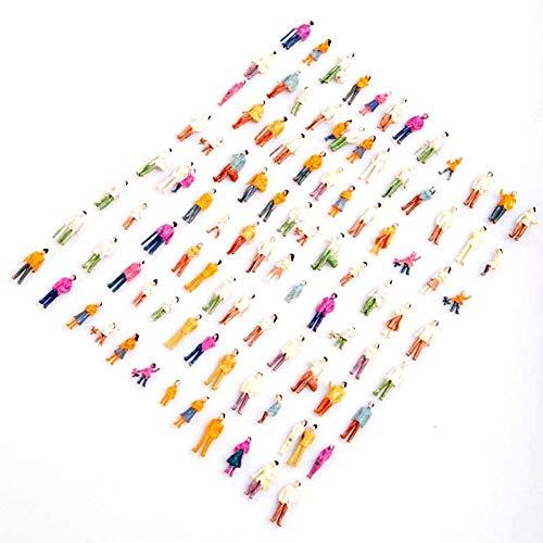 Xfaiz - Juego de 100 modelos a escala HO 100 piezas figuras de escala de resina para personas pequeñas sentadas modelo pintado mezclado personas coloridas sentadas de pie tren pasajeros de la calle