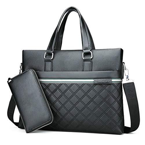 Pan&Bazstny Men's Messenger Leather Bag Briefcase Business Men Shoulder Bag Black Handbag-Wallet