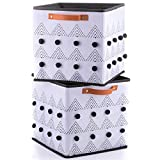 INYMA Fabric Cube Storage Bins - Boho Storage - Cute Baskets - Foldable Organizer for Nursery Shelf Closet with Black and White Pom Poms, Set of 2 for Home Organizing, 11x11''