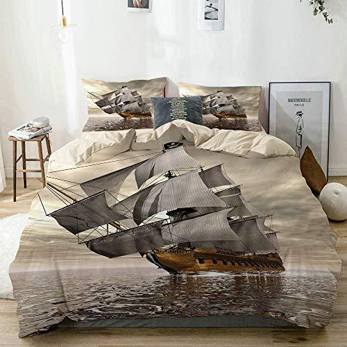 Juego de funda nórdica beige, estilo 3D Barco pirata Mar Barco histórico Cielo nublado Tema de exploración de viaje, Juego de cama decorativo de 3 piezas con 2 fundas de almohada Fácil cuidado Antialé