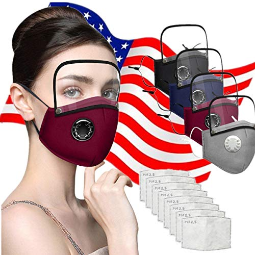 Face Cotton with Breathing valve With Activated Carbon Filter Replaceable Filters And Detachable Eye Shield Face Health Suitable For Adults - New Upgrade,US Store (one size, 4PC+8PCS)