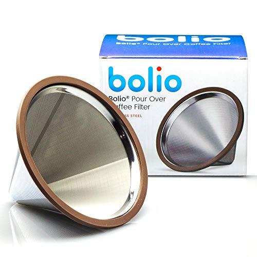 Bolio - Filtro per caffè in acciaio inox - No 2 dimensioni - Adatto a Chemex, Bodum e la maggior parte delle macchine da caffè da 10 tazze V60 Pour Over Acciaio inox