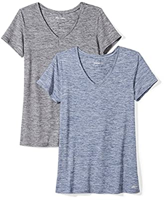 Amazon Essentials Women's 2-Pack Tech Stretch Short-Sleeve V-Neck T-Shirt, Black Navy Heather, Large