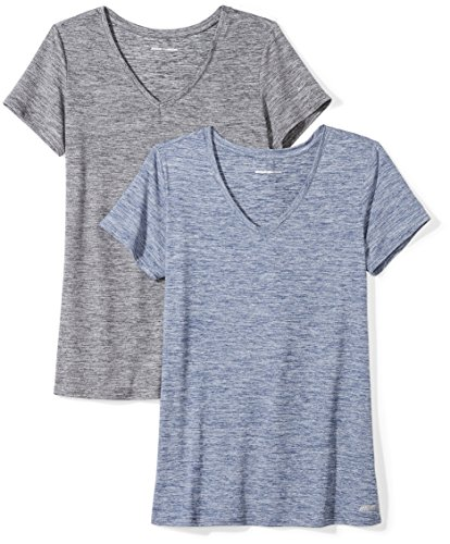 Amazon Essentials Women's 2-Pack Tech Stretch Short-Sleeve V-Neck T-Shirt, Black...