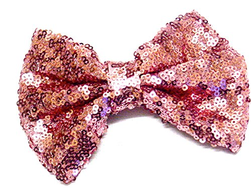 La Peach Fashions Brand New Beautiful Shiny Sequin Fabric Bow On Forked Clip Lovely Colours Hair Bow Clip Hair Slide Bows Size 12 cm. (Rose Pink)
