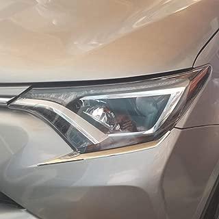 Kadore Front Headlight Eyelid Cover Trim for Toyota RAV4 RAV-4 XLE LE 2016 2017 2018 ABS Chrome 2PCS/Set