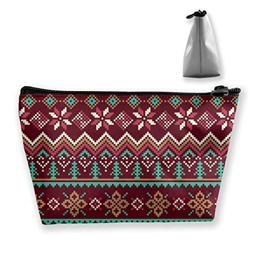 Multi-Functional Print Trapezoidal Storage Bag for Female Reindeer Snowflakes