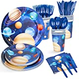 Decorlife Space Themed Party Supplies Serves 16, Space Party Plates...