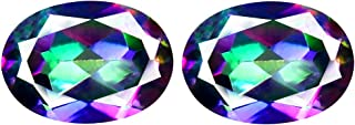 Deluxe Gems 1.89 ct Matching Pair Oval Cut (7 x 5 mm) Fancy Mystic Sea Child Topaz Natural Gemstone