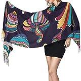 Patrón sin Costuras Setas de Colores Estilo Doodle Bufanda de Mujer Bufanda con Flecos Grande Bufanda Viaje 77'x27 / 196x68cm Pashmina Suave Grande Extra cálida