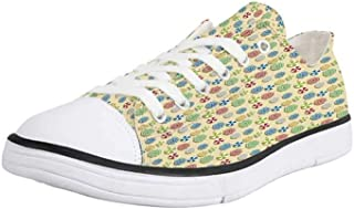 VCERTHDF Print Trendy Funny Dinosaurs Low Top Canvas Sneakers