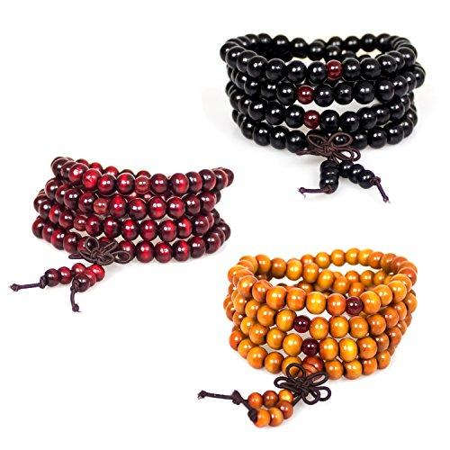 Bracelets,3Pcs 108 8mm Wood Beaded Tibetan Buddhist Sandalwood Prayer Buddha Mala Beads Meditation Bracelet Necklace Elastic(Red Black Orange)