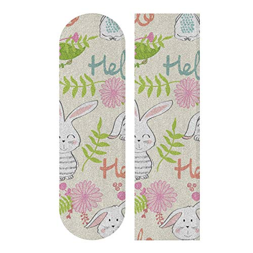 N\A 33.1x9.1inch Sport Outdoor Nettes Skateboard Griffband Bunny Nettes Kinderkaninchen Mit Blumen Drucken Wasserdichtes farbiges Skateboard Griffband Für Tanzbrett Double Rocker Board Deck 1 Bl