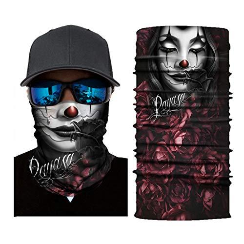 T-XYD Frauengesichtsschal Multifunktionale 3D-gedruckte Kopfbedeckung Halsbänder Stirnbänder Dehnbar atmungsaktiv für Sun UV Dust Wind Proof,C