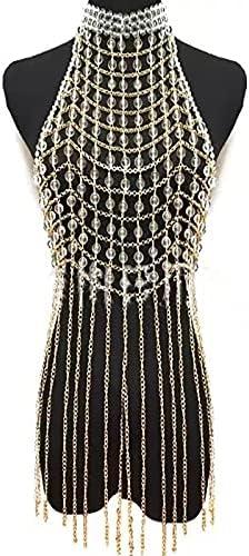 baidicheng Crystal Shoulder Chain Chain Handmade Bead Body Chain Sexy Dress Pearl Mesh Fringe Street Pat Breast Chain (Metal Color : Champagne)