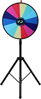 ROVSUN 24'' Spinning Prize Wheel with Adjustable Height & Folding Tripod Floor Stand 14 Color Slots Prize Spinner w Dry Erase & Mark Pen, Fortune Spin Game, Win Casino, Carnival and Trade Show
