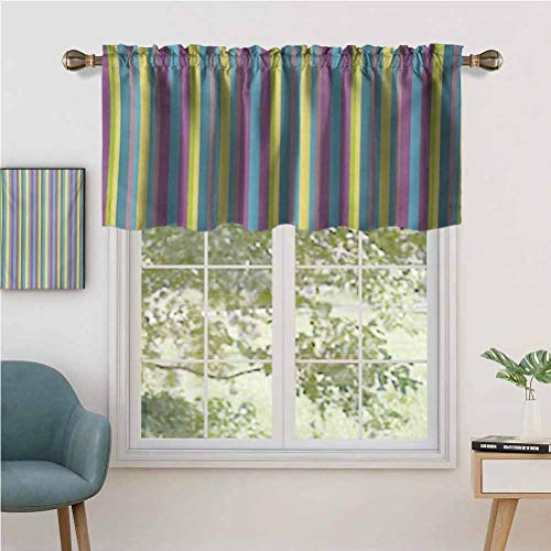 Estivation Rod Pocket Blackout Curtain Valance Colorful Composition with Herringbone Zigzags Hand Drawn Geometric Ill, Set of 1, 50'x18' Short Straight Drape Valance for Living Room