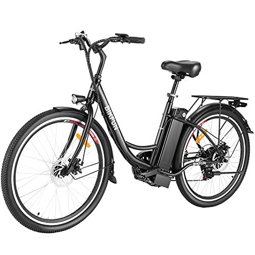 BIKFUN E-Bike 26 Zoll Elektrofahrrad mit 15Ah/540Wh Abnehmbar Lithium-Akku bis 70KM | 350W Pendler Elektrofahrrad für Erwachsene Damen Herren | City E-Bike mit Shimano 7-Gänge 32km/h Pedelc (Schwarz)