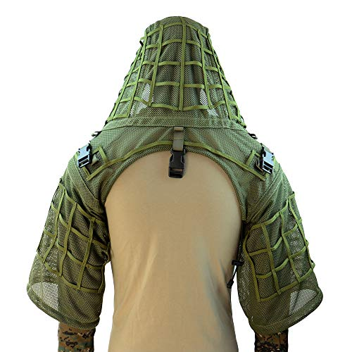 ROCOTACTICAL Super Breathable Ghillie Suit Foundation, Full Mesh Nylon Sniper Ghillie Base Lightweight Military Ghillie Viper Hood, Army Green
