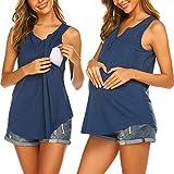 Ekouaer Maternity Shirt Women's Summer Sleeveless Buttons Up Neck Maternity Top