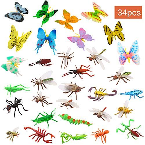 OOTSR Insectos de plástico [Paquete de 22] y Mariposas Coloridas Surtidas [Paquete de 12], Insectos simulados de 1''- 4'' Hechos de PVC Calidad para niños, Fiestas de educación o Fiestas temáticas