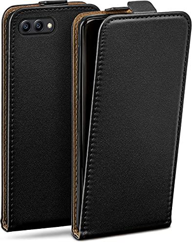 moex Flip Hülle für Huawei Honor View 10 - Hülle klappbar, 360 Grad Klapphülle aus Vegan Leder, Handytasche mit vertikaler Klappe, magnetisch - Schwarz