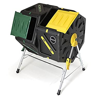 Miracle Gro Dual Chamber Compost Tumbler – Outdoor Bin with Easy-Turn System, 2 Sliding Doors, Sturdy Steel Frame – All Season Composter , BPA-Free + FREE Scotts Gardening Gloves (2 X 18.5gal/70L)