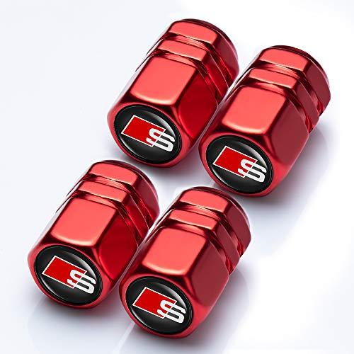 Goshion 4 Pcs Metal Car Wheel Tire Valve Stem Caps for Audi S Line S3 S4 S5 S6 S7 S8 A1 A3 RS3 A4 A5 A6 A7 RS7 A8 Q3 Q5 Q7 R8 TT Styling Decoration Accessories