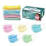 TCP Global Salon World Safety - Kids Face Masks 50 Pk 3-Ply Protective PPE (5 Colors, 10 Each)