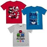 Hasbro Boy's 3-Piece Power Rangers Crewneck Tee Shirt Set, Blue/Red/Grey, Size 4