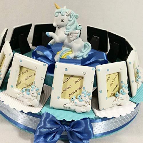 Cornice portafoto Unicorno bomboniere Battesimo Maschio o Femmina Torta portaconfetti Confetti Inclusi (Torta da 12 fette Bimbo)