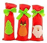 Polka Dot Sky Navidad Botella de Vino Tote Soporte Navidad Regalos Bolsa con Pequeño Lazos Y Cordón Navidad Decoración Mesa - X3 Soportes, 12cm x 30cm
