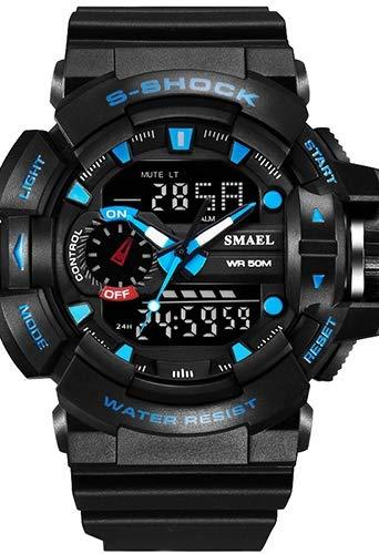 Orologio sportivo militare digitale giapponese, calendario/cronografo/poliuretano/cinturino casual in silicone, resistente agli urti, resistente all'acqua Bracciale nero / blu