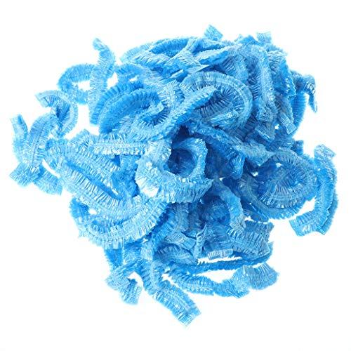 RG-FA Lot de 100 chapeaux de douche élastiques jetables transparents bleu