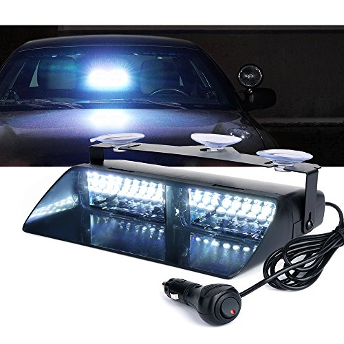 Xprite 16 LED White Windshield Dash Emergency Strobe Lights w/Suction Cups for Law Enforcement Vehicles Truck Interior Roof Hazard Warning Flashing Light (Others Color Available)