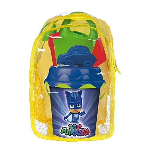 Pj Masks Set playa cubo en mochila con regadera y accesorios (Smoby 863032), multicolor