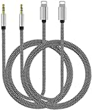 [Apple MFi Certified] AUX Cord for iPhone, 3.5mm AUX Cable for Car Stereo(2 Pack) Compatible with iPhone 12/11Pro/SE/X/XR/XS/8 7 iPad/iPod, Using with Car/Home Stereo, Speaker, Headphone -3.3ft Sliver